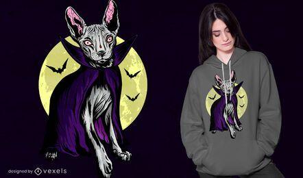Design assustador de t-shirt de gato vampiro
