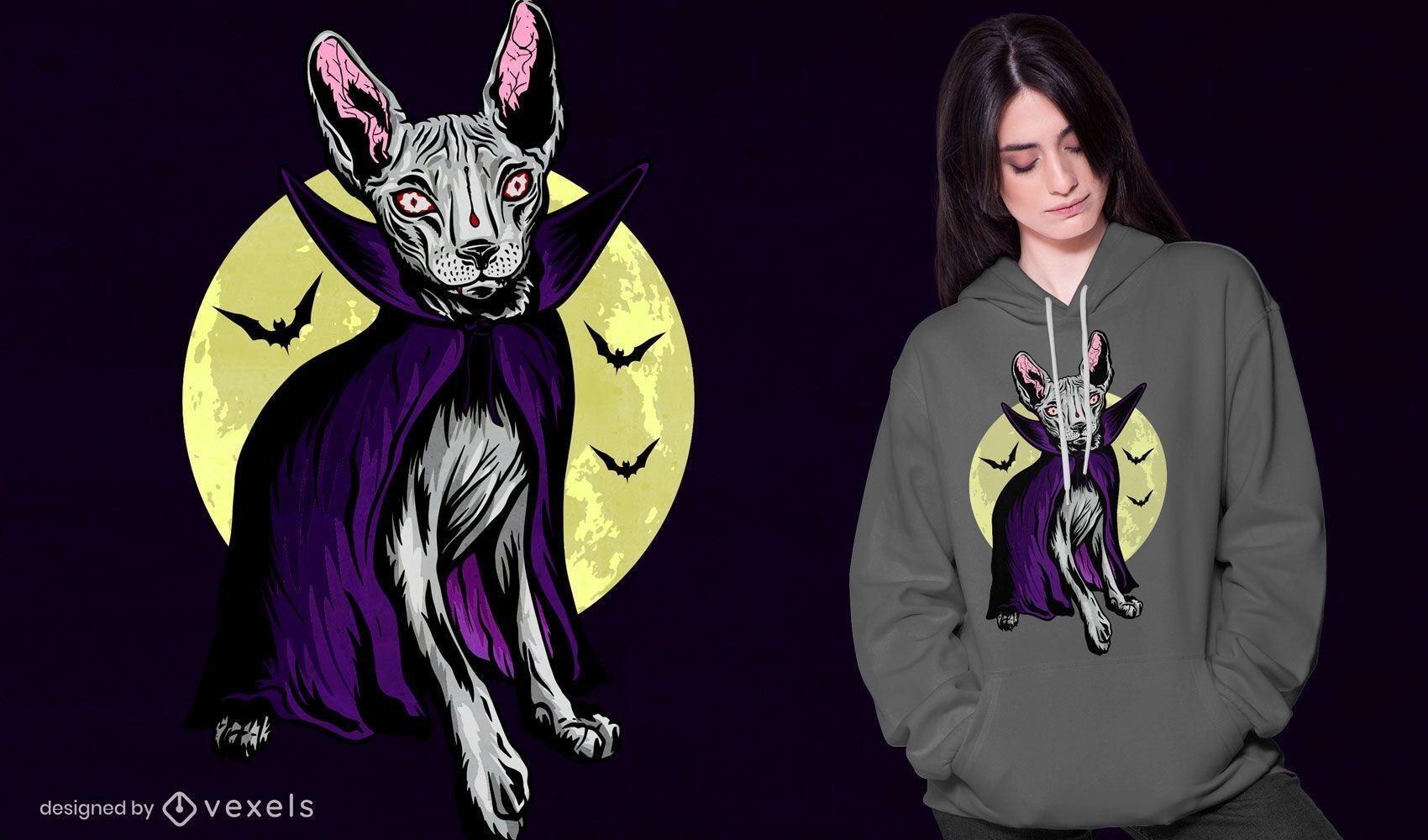 Dise?o de camiseta de gato vampiro espeluznante