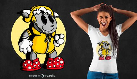 Sheep with raincoat t-shirt design