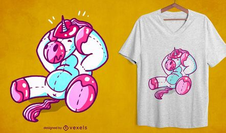 Design de camiseta de unicórnio com coração preso