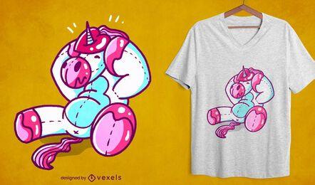 Diseño de camiseta de unicornio de corazón atascado