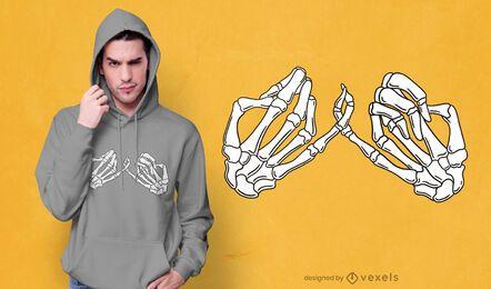 Design de t-shirt com esqueleto pinky promessa