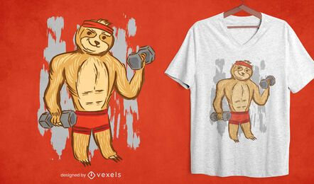 Diseño de camiseta fitness sloth.