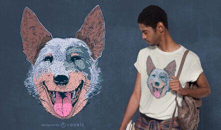 Diseño de camiseta de perro feliz