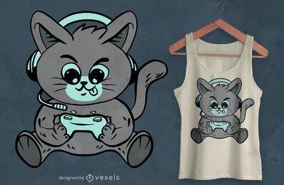 Diseño de camiseta de gatito de juego.