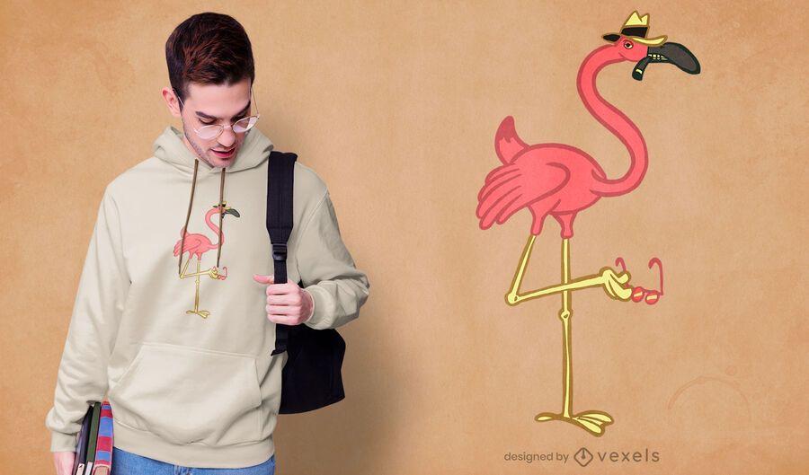 Diseño de camiseta mafia flamingo