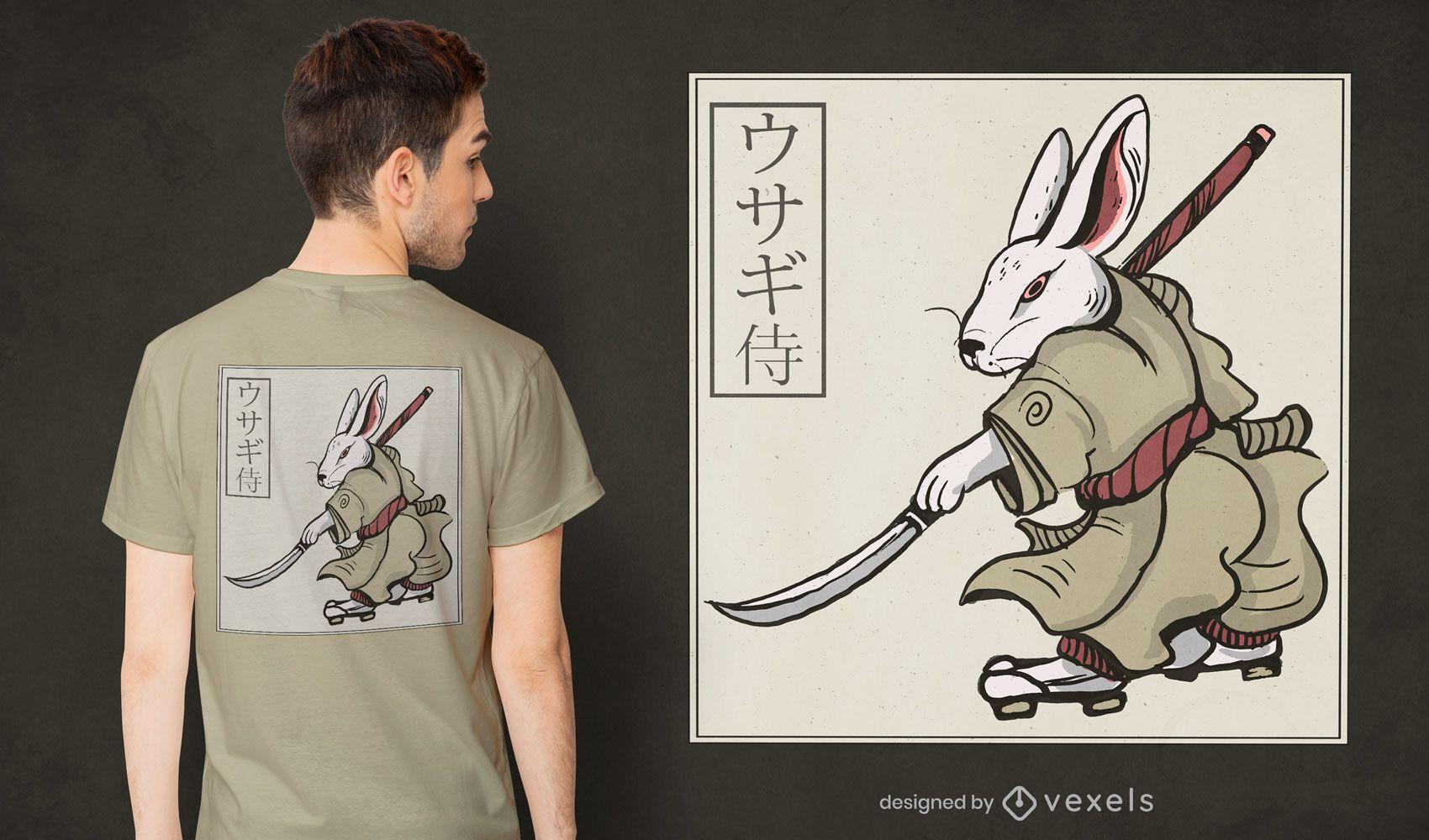 Diseño de camiseta conejo samurai.
