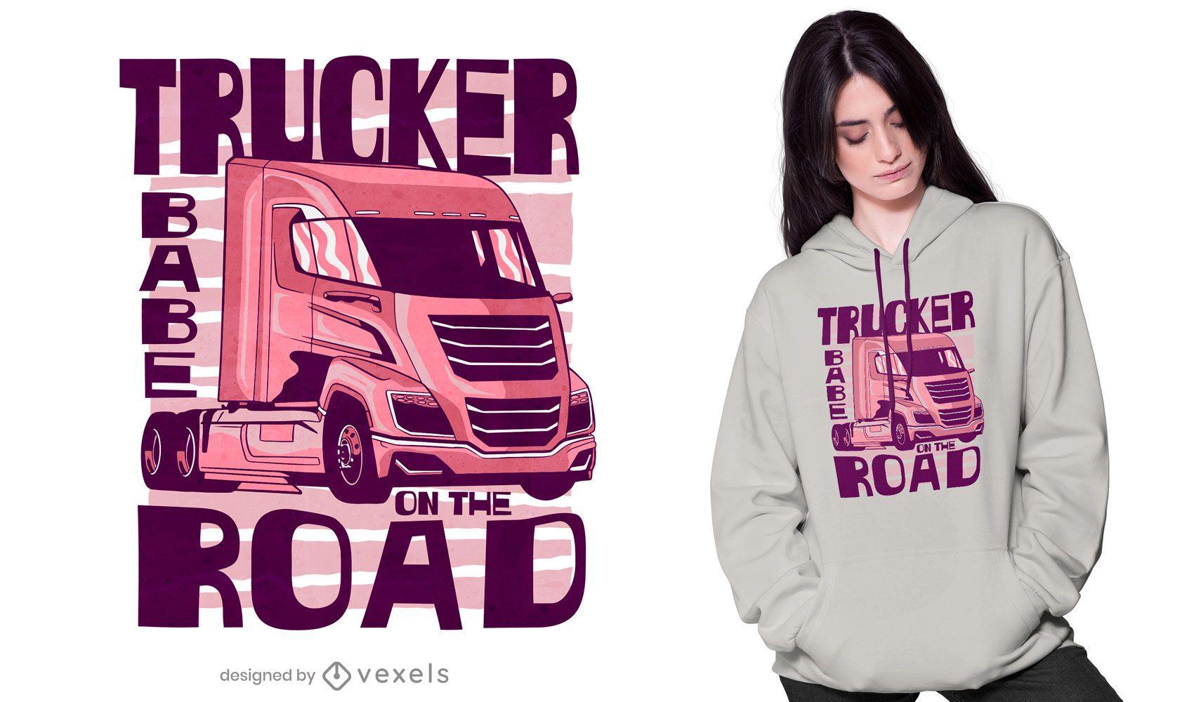 Trucker babe road t-shirt design