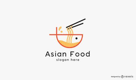 Modelo de logotipo de macarrão de comida asiática