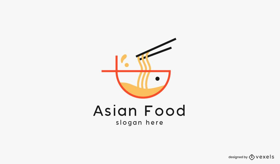 Asian food noodles logo template