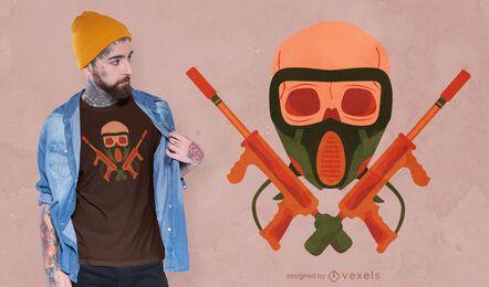 Diseño de camiseta de calavera de paintball