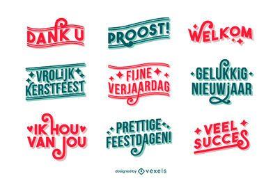 Conjunto de letras holandesas buenos deseos