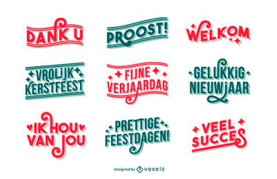 Dutch good wishes lettering set