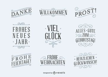 German good wishes lettering set
