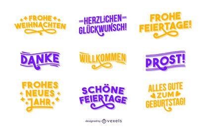 Good wishes lettering German set
