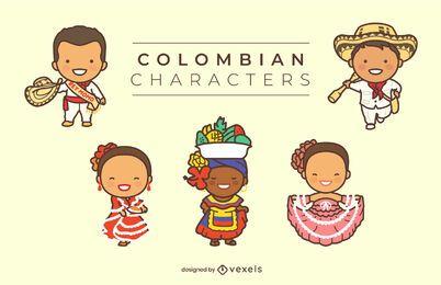 Conjunto de personagens colombianos fofos