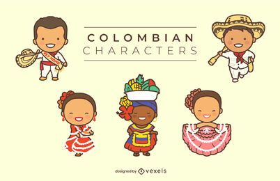 Cute Colombian characters set