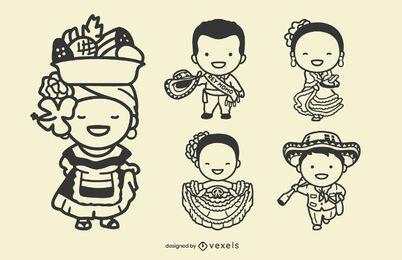 Cute Colombian characters stroke set