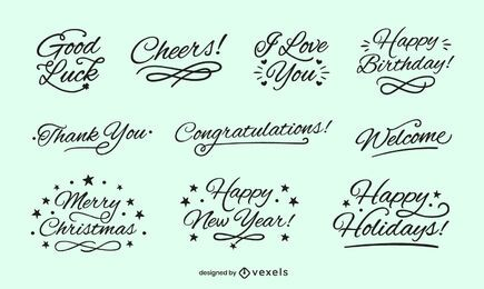 Lettering good wishes set