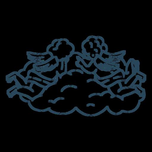 Namorados anjos na nuvem
