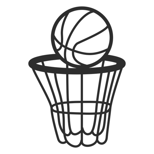 Basketball net and ball stroke Transparent PNG