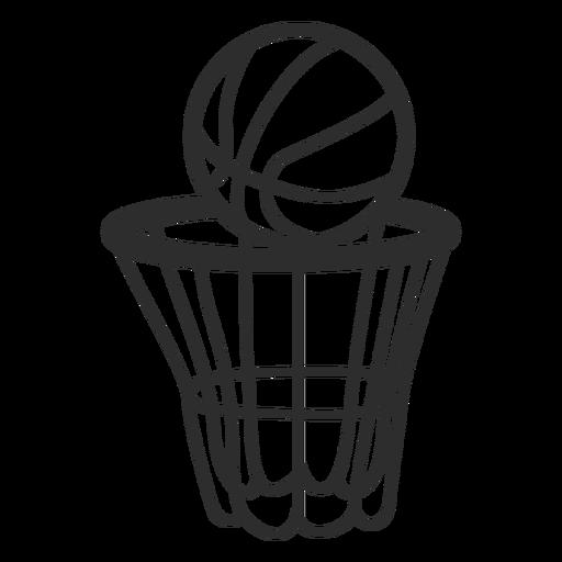 Red de baloncesto y golpe de pelota.