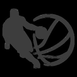 Jugador de baloncesto pelota silueta jugador de baloncesto