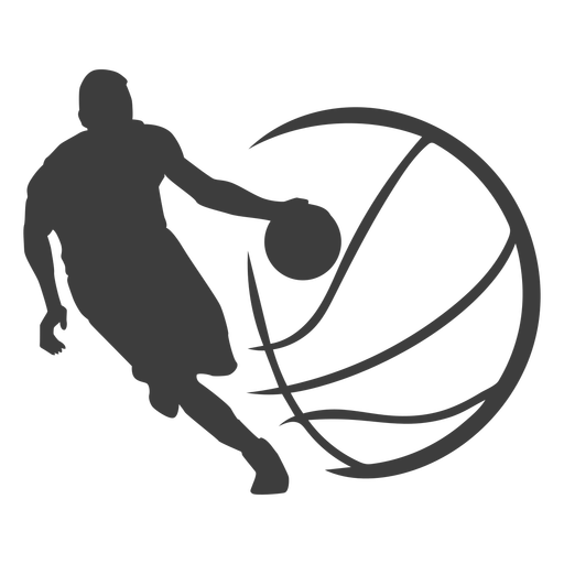 Basketball player ball silhouette basketball player