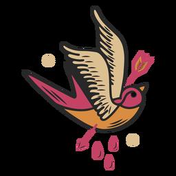 Tatuaje de pájaro atravesado por una flecha