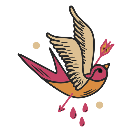 Bird pierced by arrow tattoo Transparent PNG