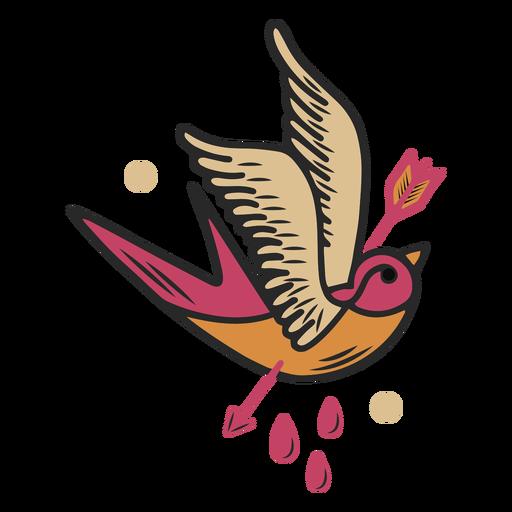 Bird pierced by arrow tattoo