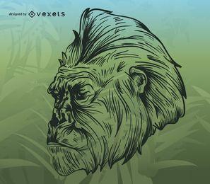 Ilustración de gorila sobre fondo tropical