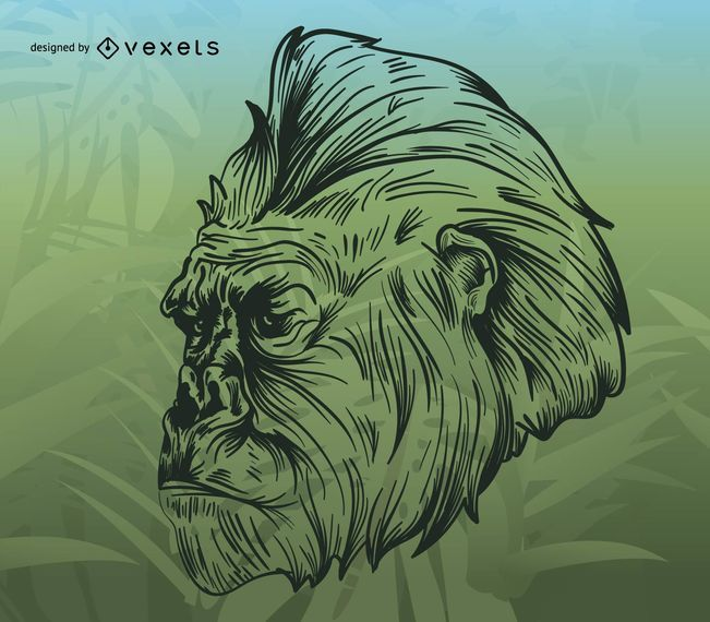 Gorilla illustration over tropical background