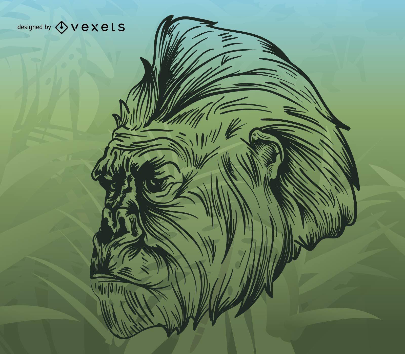 Ilustração de gorila sobre fundo tropical