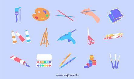 Conjunto plano de suministro de arte