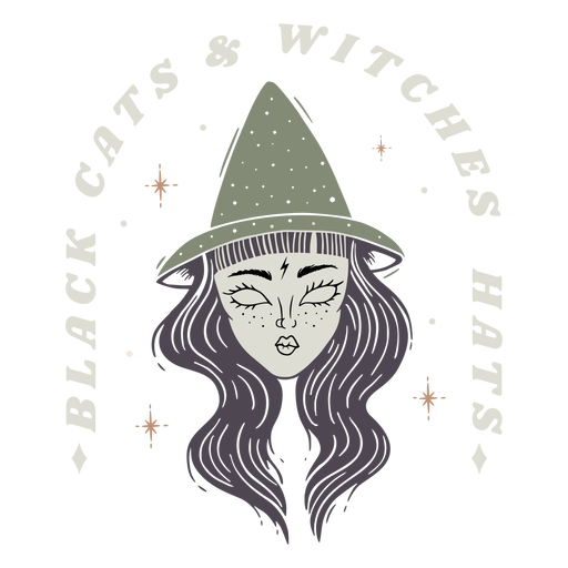 Black cats witches hats badge