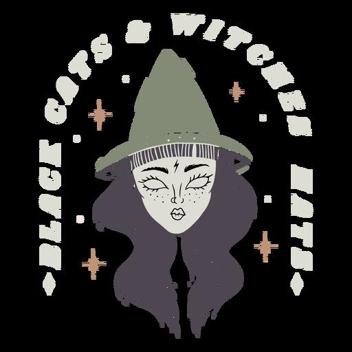 Gatos pretos com chapéus de bruxas distintivo