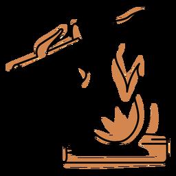 Trazo de color suave de llamas de hoguera