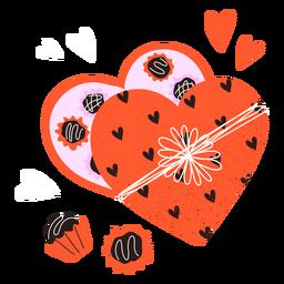 Doodle de caixa de chocolates para namorados