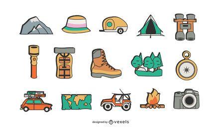 Camping Elemente gesetzt