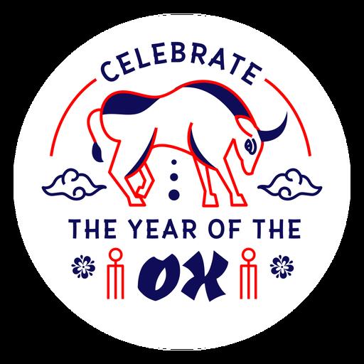 Celebra la insignia del año buey 2021 Transparent PNG