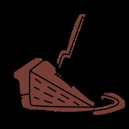 Traço de cor de pedaço de bolo de chocolate