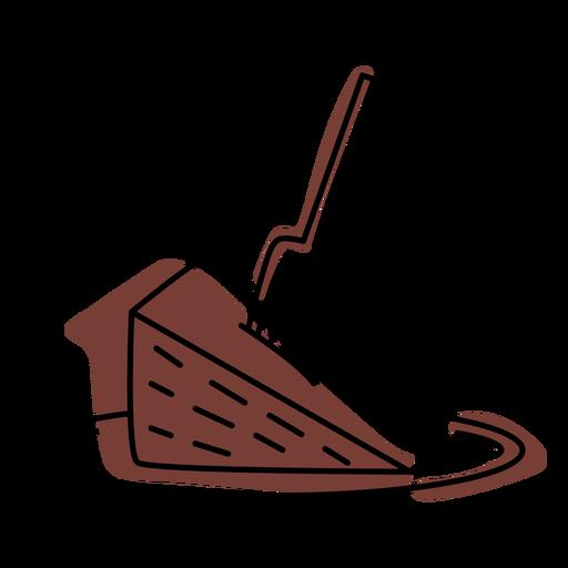 Chocolate cake piece color stroke
