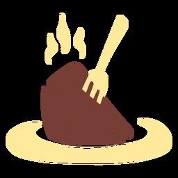 Pedaço de bolo de chocolate plano
