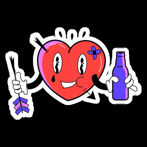 Pegatina corazón bebiendo