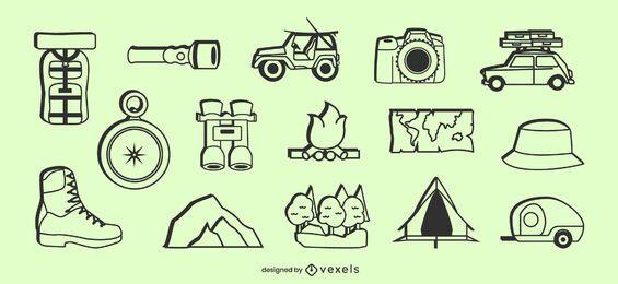 Conjunto de elementos de icono de camping