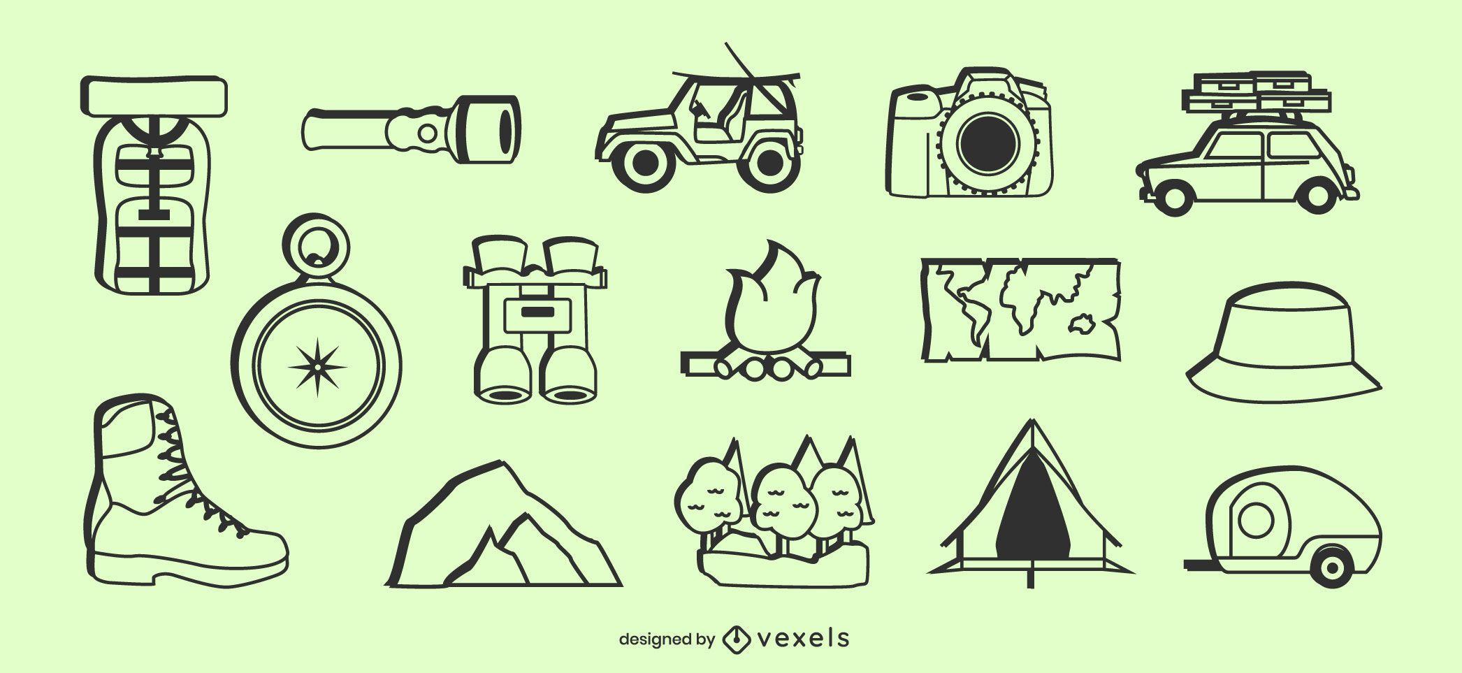 Conjunto de elementos de ícone de acampamento
