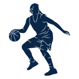 Jugador de baloncesto femenino jugando recortar