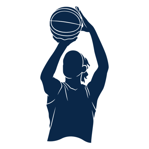 Female basketball player shoot cut out