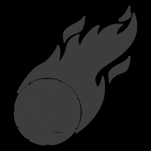 Bola de baloncesto llameante cortada